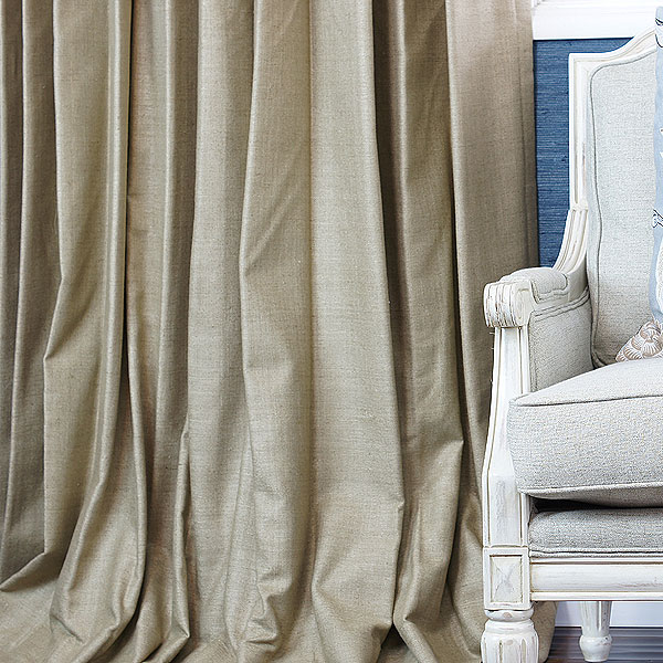Shown:  Hand Woven Custom Silk Drapery in Taupe